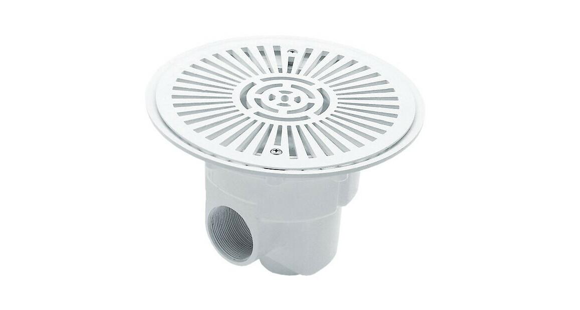 bonde de fond blanche en abs blanc grand modèle Ø270 mm pour piscine béton