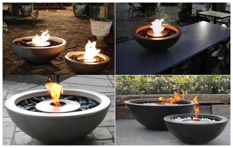 cheminée d'extérieur à l'éthanol Mix Fire Bowl en situation