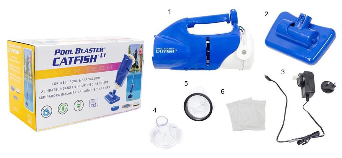 accessoires fournis avec l'aspirateur catfish pour piscine et spa