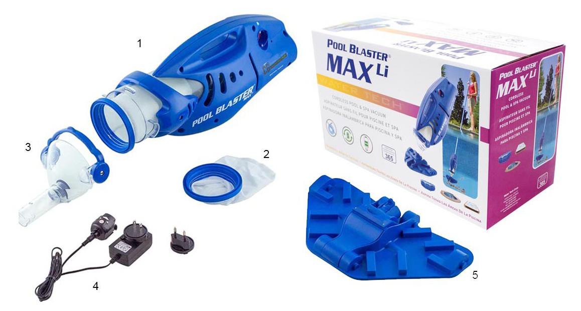accessoires fournis avec l'aspirateur Pool Blaster Max