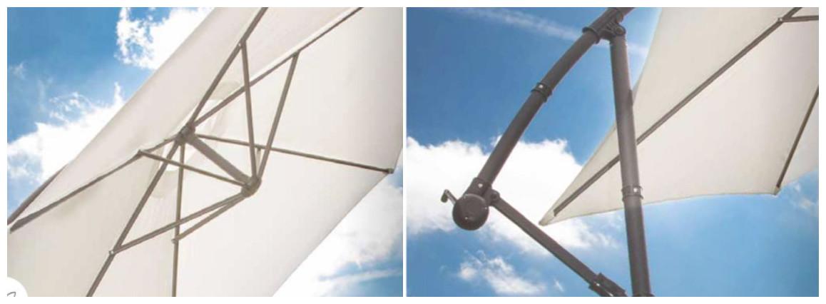détails du parasol déporté superking Ø 300x200 en situation