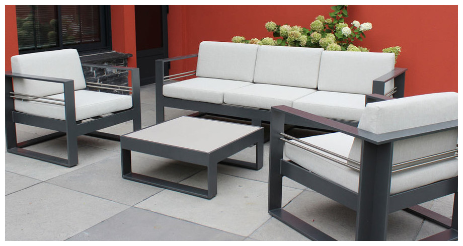 Table basse de jardin gris anthracite - Salon de jardin table ronde en aluminium ...