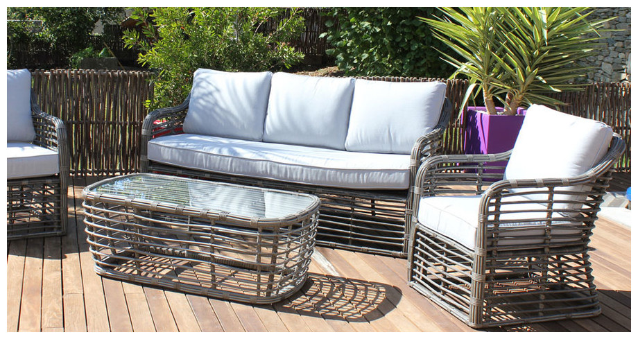 salon de jardin 5 places en r sine ronde jardin. Black Bedroom Furniture Sets. Home Design Ideas