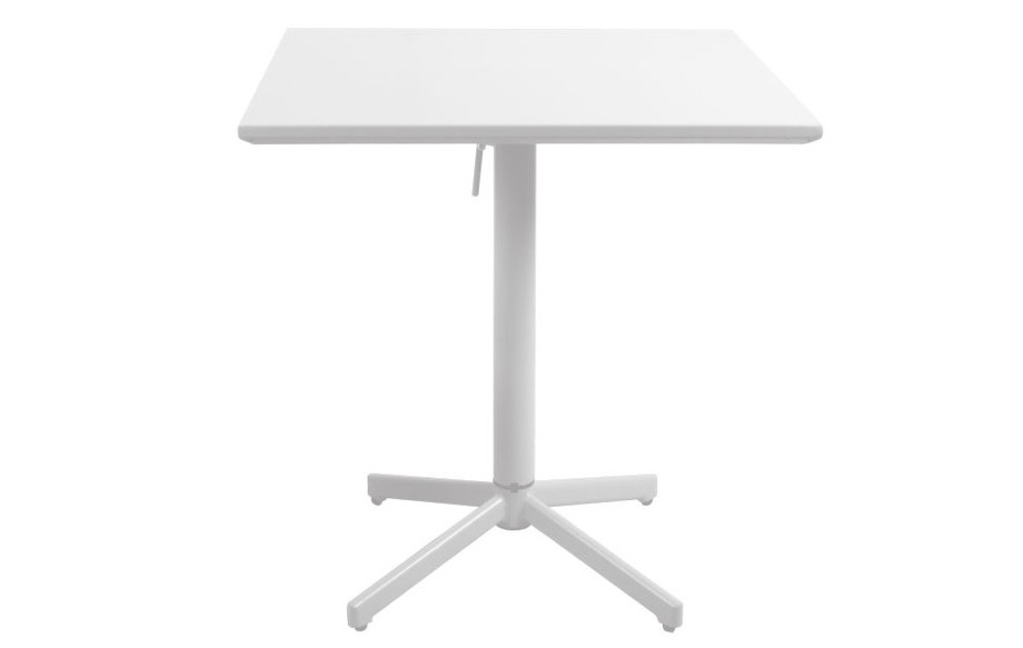table pliante en aluminium blanche carrée 70 cm en situation