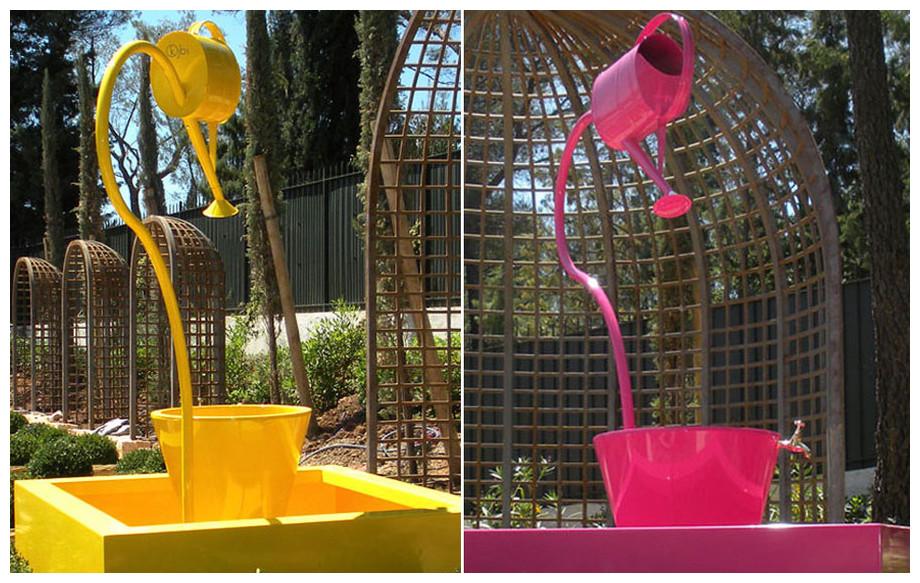 Fontaine de jardin Léopold XL jaune et fushia