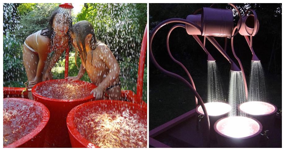 Fontaine de jardin Léopold éclairée en situation