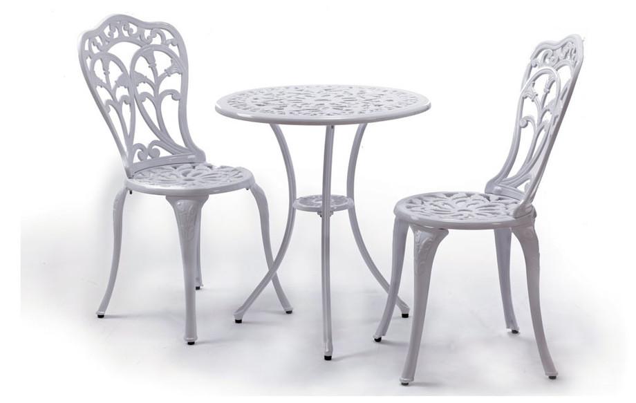 Table et chaises Romance en aluminium laqué blanc