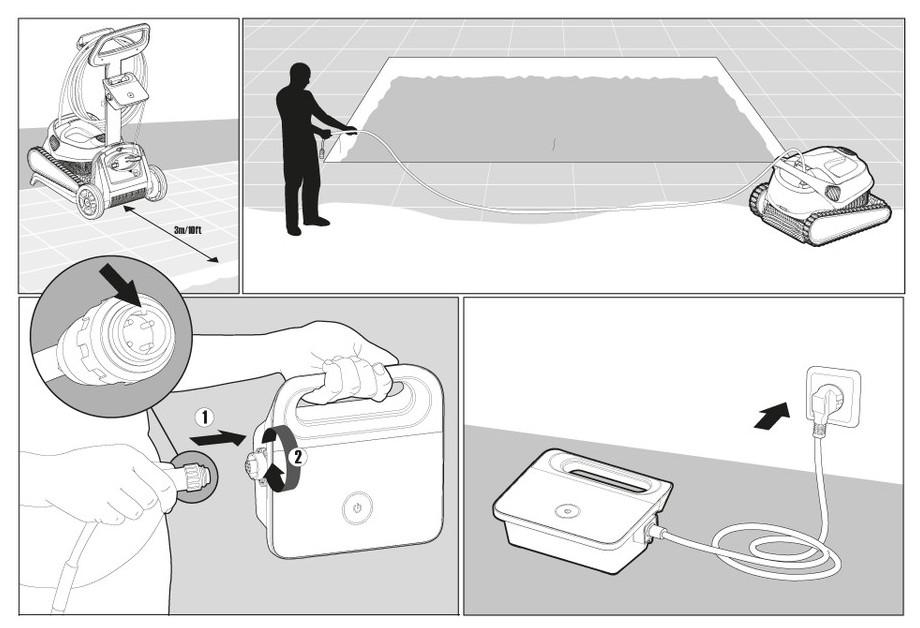 Robot Dolphin E30 pour piscine 12 m - schema explications