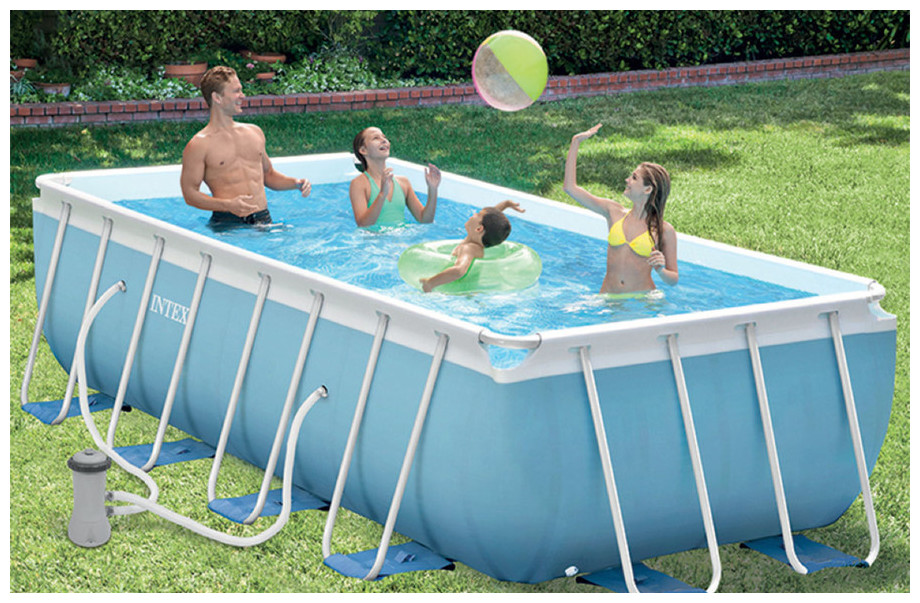 Intex piscine prism frame tubulaire pas ch re piscine for Piscine tubulaire intex rectangulaire