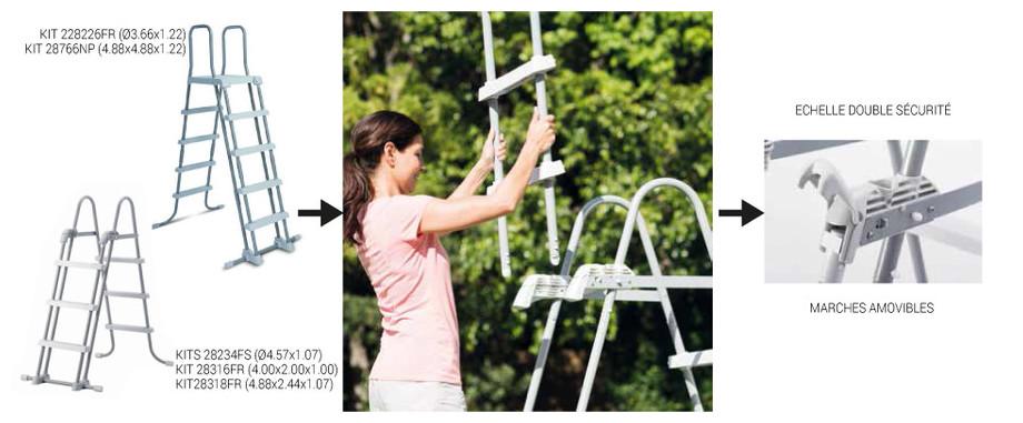 Prism Frame par Intex - Piscine tubulaire hors-sol en kit - echelle sécurité fournie
