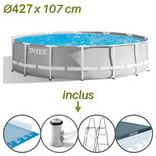 caractéristiques de la piscine hors sol tubulaire ronde prism frame 427 x 107