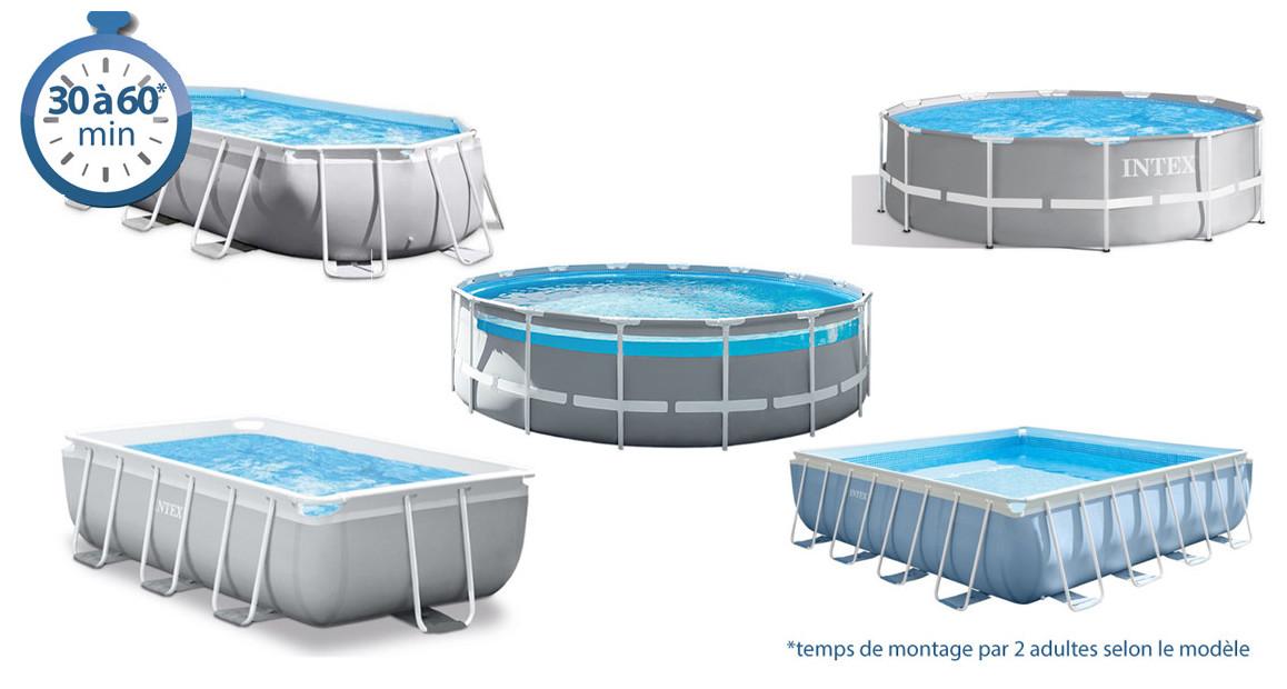 temps de montage de la piscine tubulaire intex PRISM FRAME