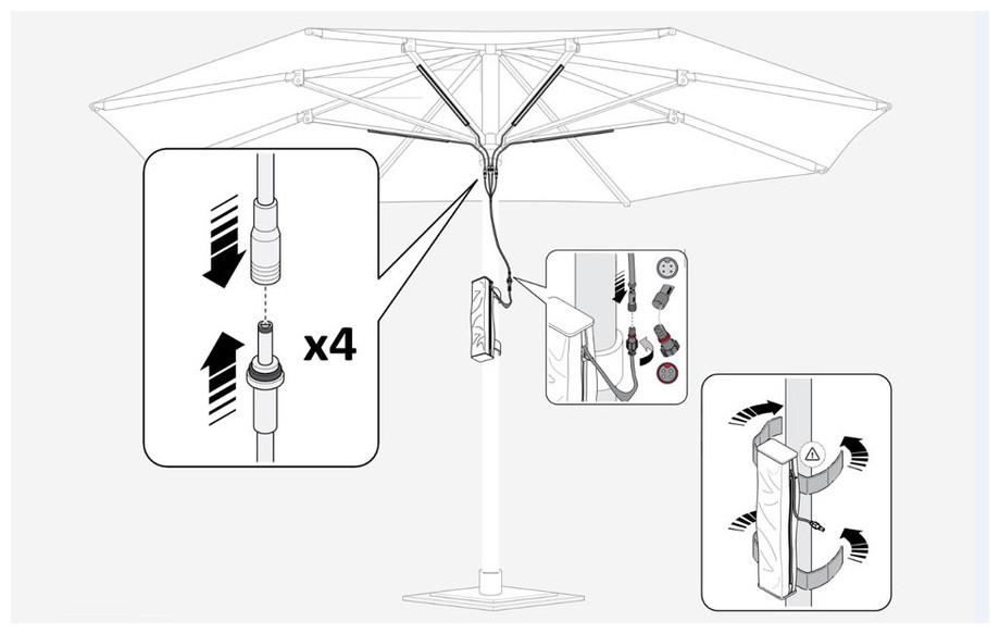 Kit lampe led sans fil pour parasol jardin for Eclairage jardin sans fil
