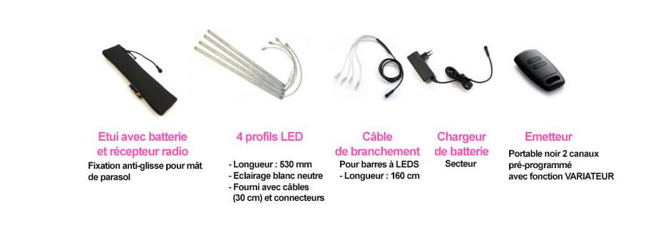 Accessoires inclus dans le kit LED sans fil pour parasol