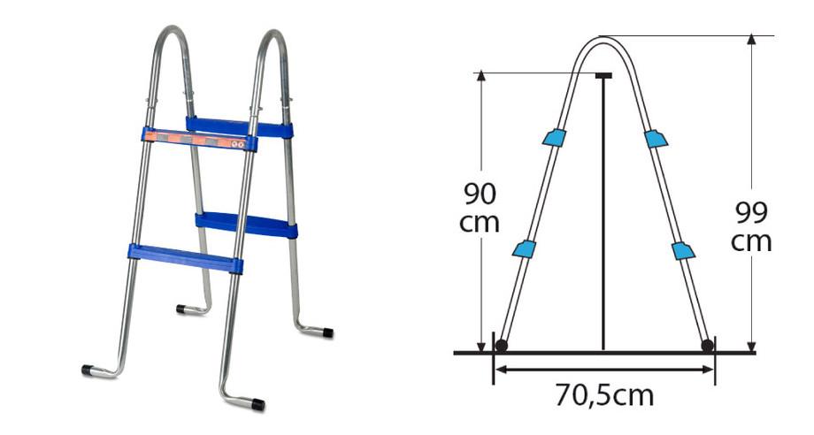 Escalier pour piscine hors-sol Gré hauteur 90 cm