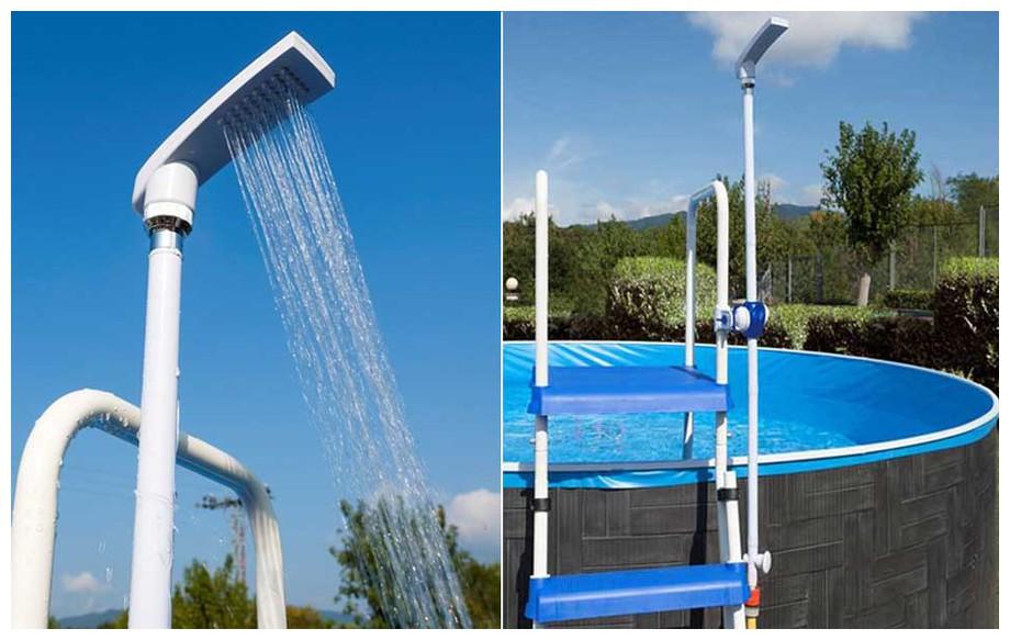 douche économique Gré à clipser pour échelle piscine hors sol en situation