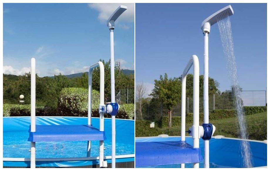 douche économique Gré à clipser pour échelle piscine hors sol en situation 2