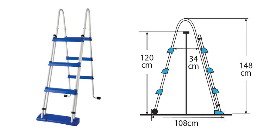 Echelle sécurité pour piscine hors-sol Gré hauteur 122 cm - dimensions