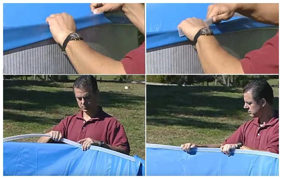 Liner Gré bleu uni système Overlap pour piscine en situation