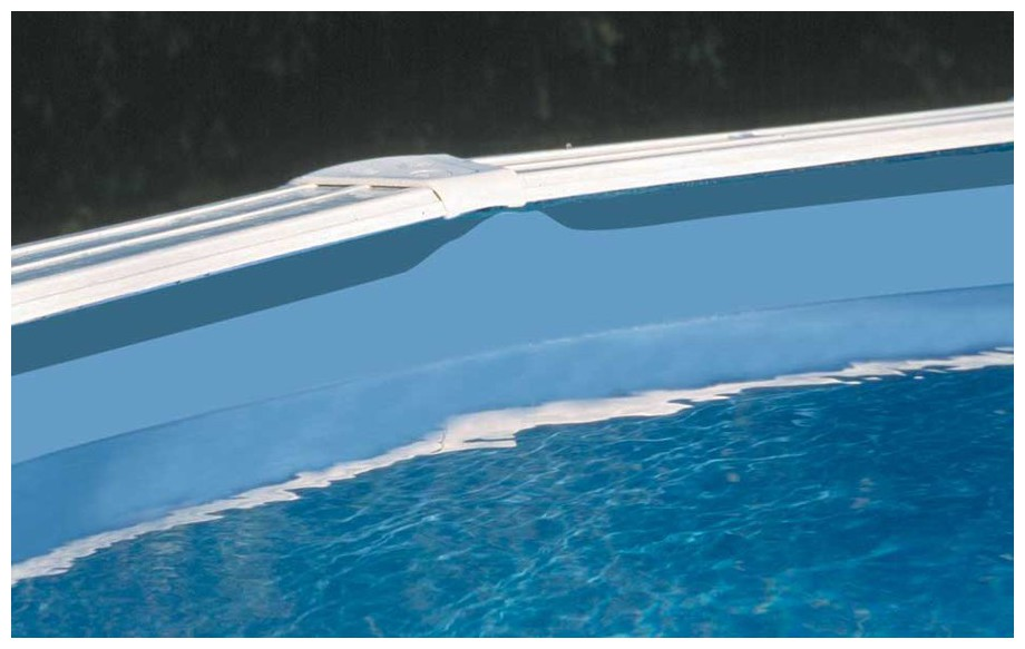 Liner Gré bleu uni Overlap pour piscine en situation finale