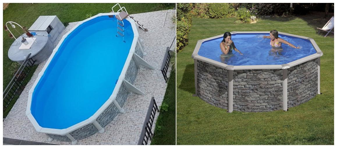 piscine hors sol acier apect pierre gré