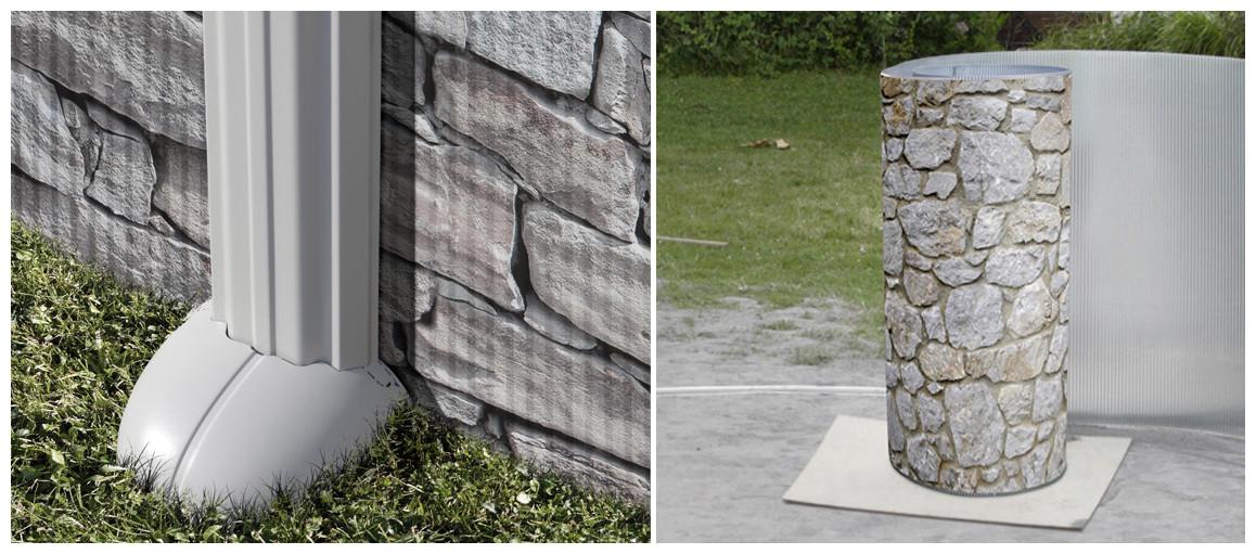 structure de la piscine hors sol acier aspect pierre gré