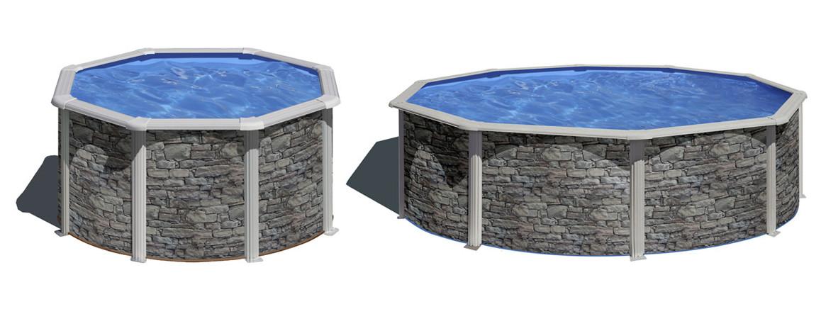 modèle de piscine hors sol acier aspect pierre gré en situation