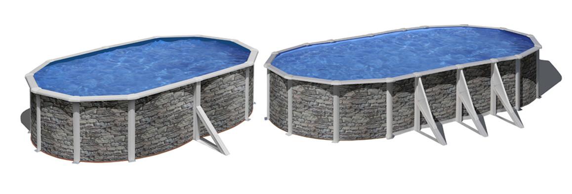 piscine hors sol acier aspect pierre ovales cerdena