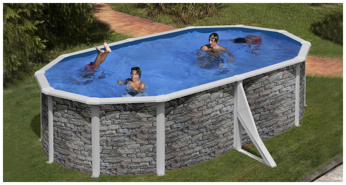 piscine hors sol en acier aspect pierre par gré en situation