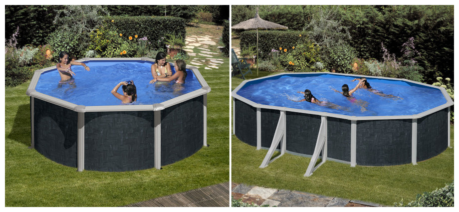 piscine hors sol acier imitation bois piscine acier. Black Bedroom Furniture Sets. Home Design Ideas