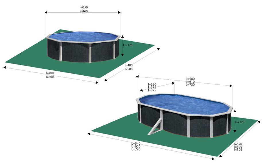 Piscine hors-sol Gré Java aspect rotin - dimensions