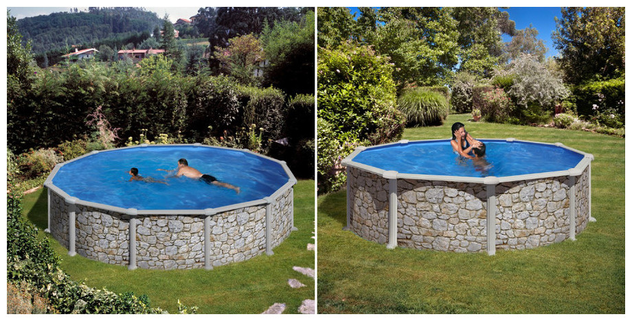 gr les piscines hors sol en kit imitation pierre piscine center net. Black Bedroom Furniture Sets. Home Design Ideas