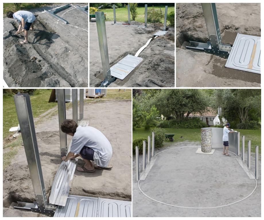 Piscine hors-sol Gré aspect pierre Córcega / Santorini - installation structure renforts U