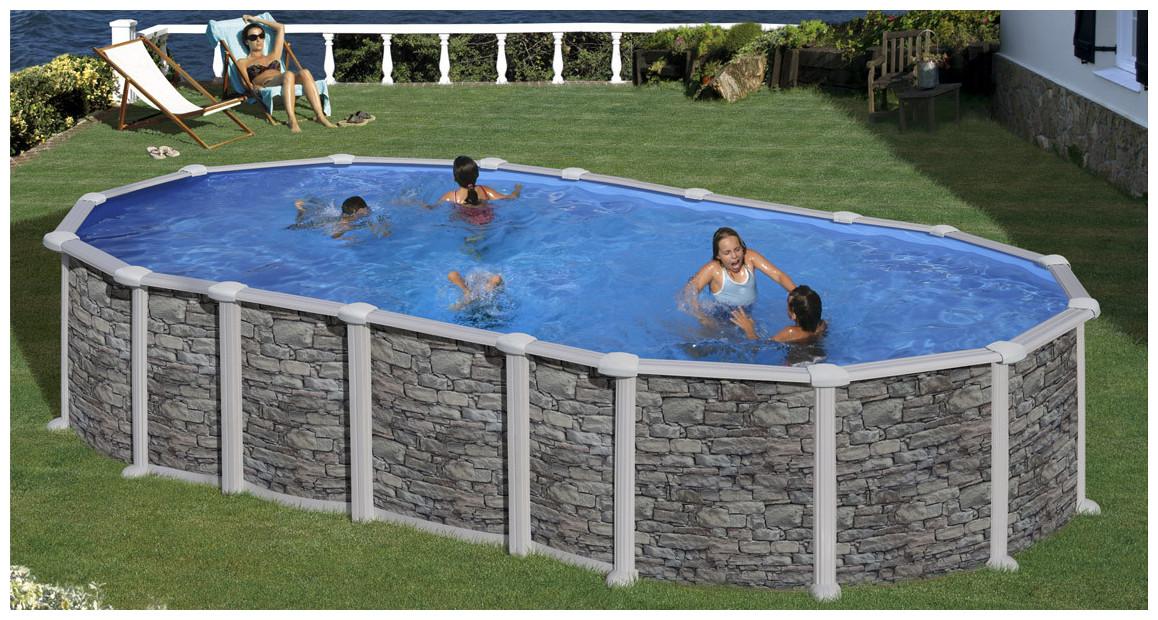 piscine hors sol acier gré imitation pierre santorini