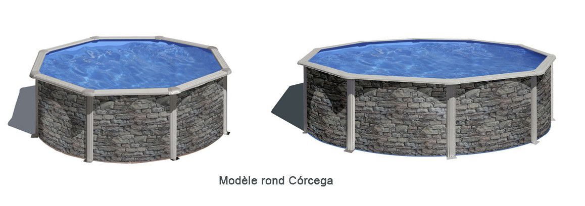 piscine hors sol acier imitation pierre ronde gré