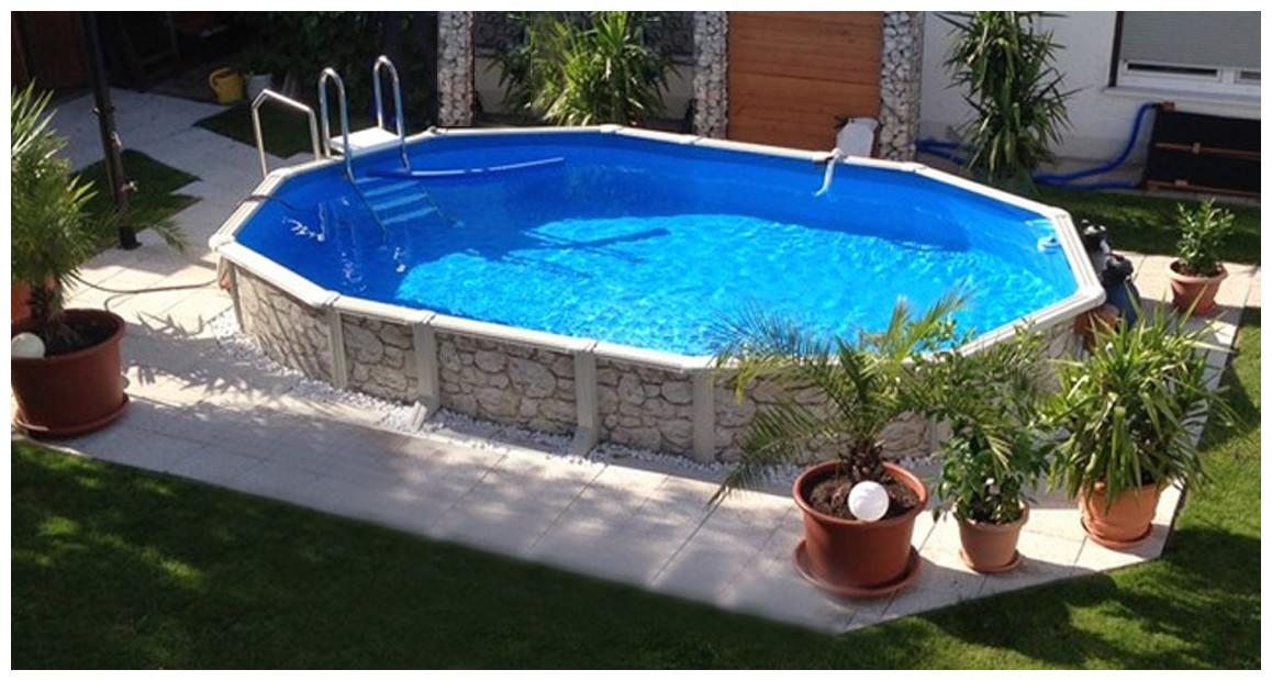 piscine hors sol en acier imitation pierre gré en situation