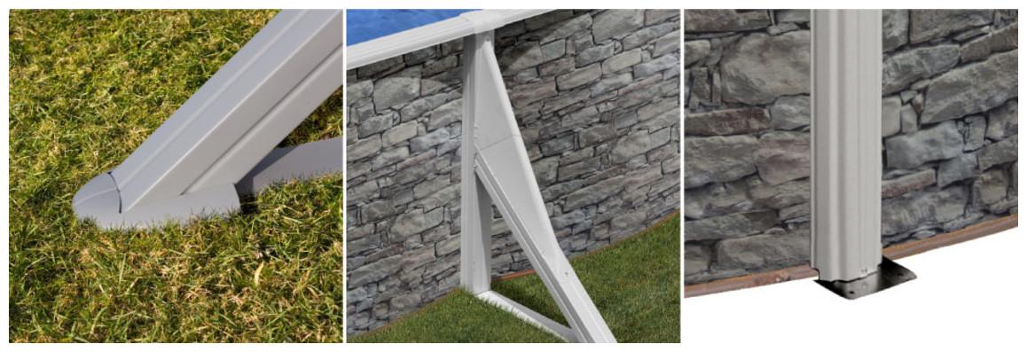 renforts de structure de la piscine hors sol gré aspect pierre