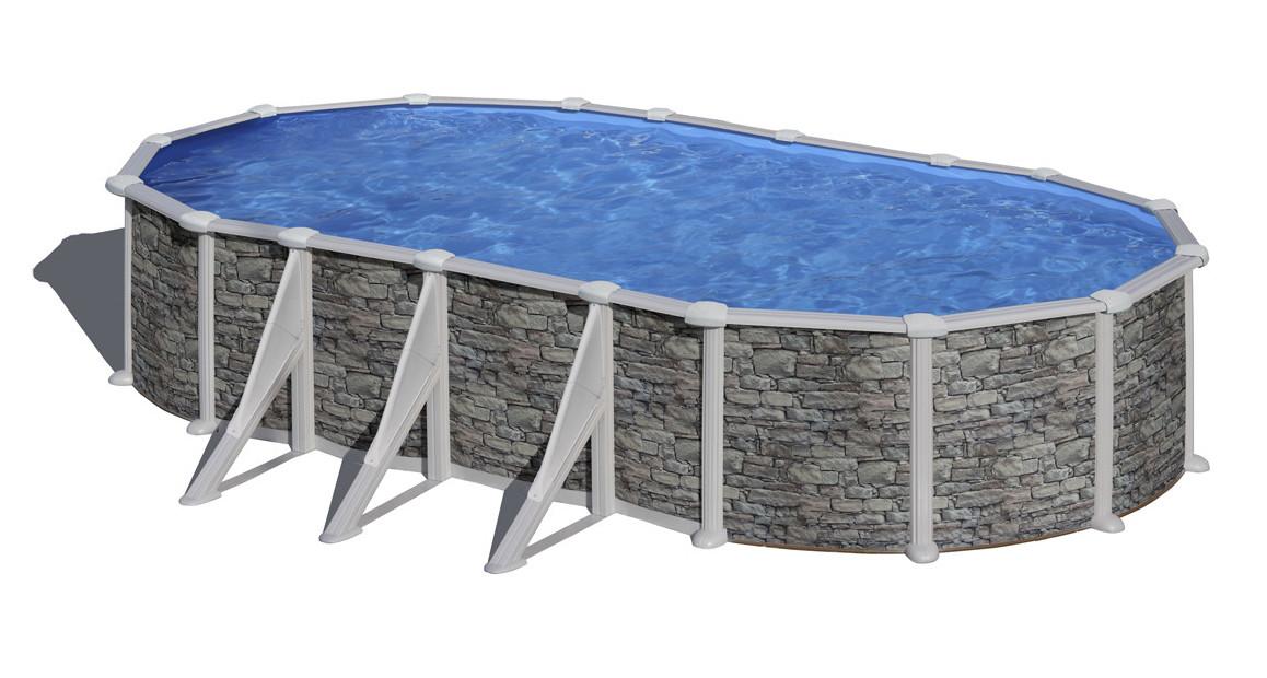 piscine hors sol ovale en acier aspect pierre gré avec renforts apparents