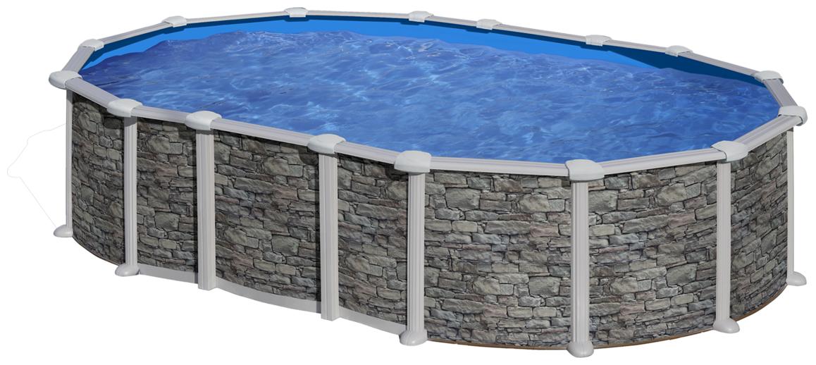piscine hors sol ovale en acier aspect pierre gré sans renforts apparents
