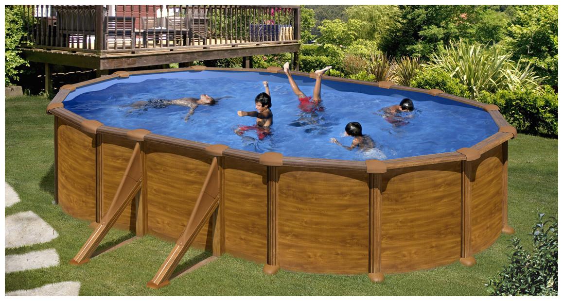 piscine hors sol n acier aspect bois gré en situation