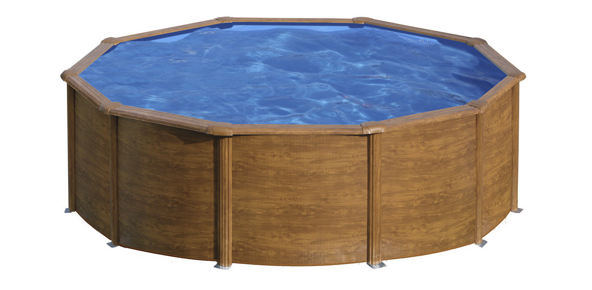 piscine hors sol ronde en acier aspect bois gré