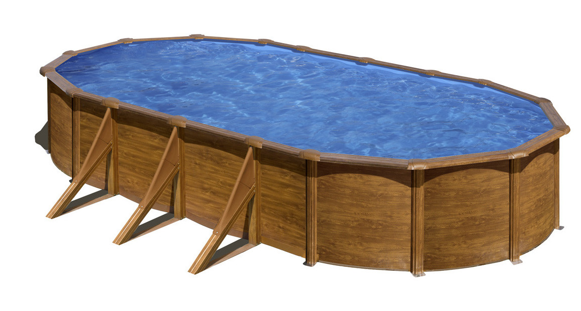 piscine ovale en acier aspect bois gré