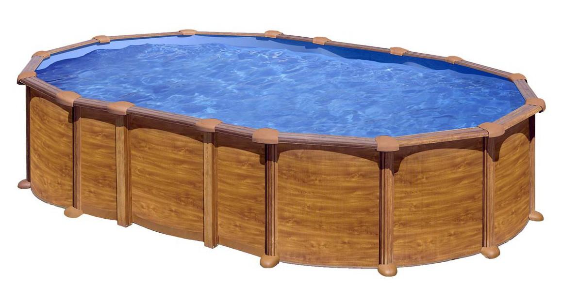 piscine hors sol ovale en acier aspect bois gré sans renforts apparents
