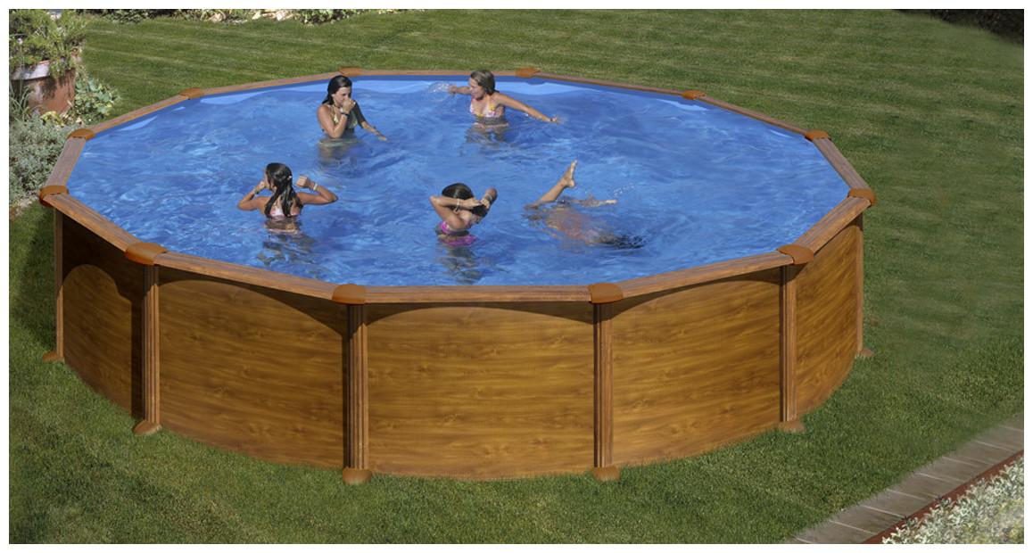 piscine hors sol en acier aspect bois ronde en situation
