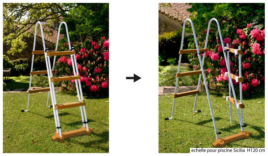 Kit piscine gr h120 ou h132 mod le aspect bois pas cher for Piscine hors sol acier imitation bois
