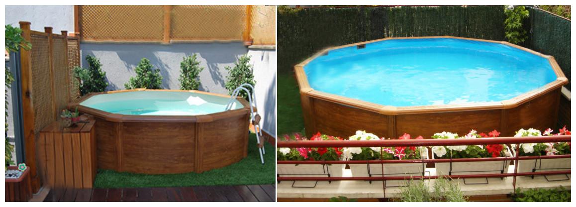 piscine hors sol en acier aspect bois pacific en situation