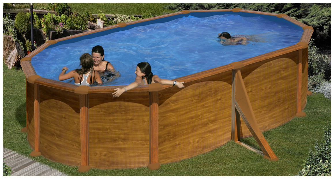 piscine hors sol en acier aspect bois maldivas en situation