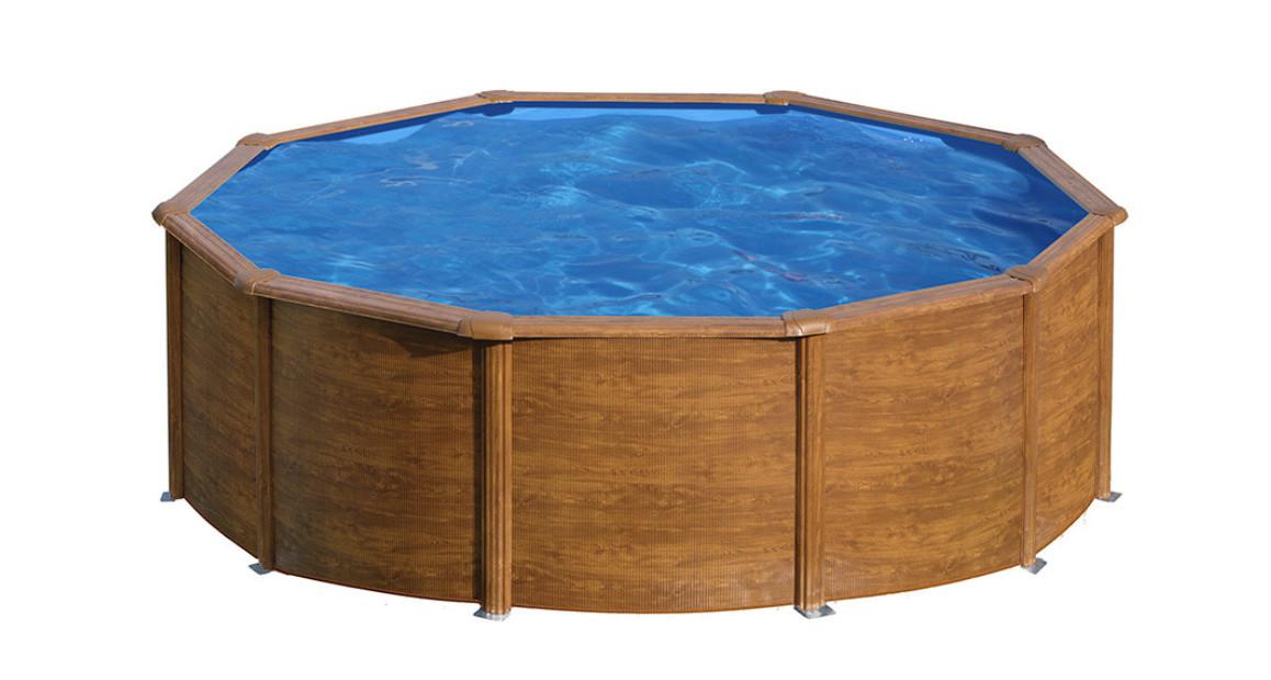 piscine hors sol en acier aspect bois sicilia ronde