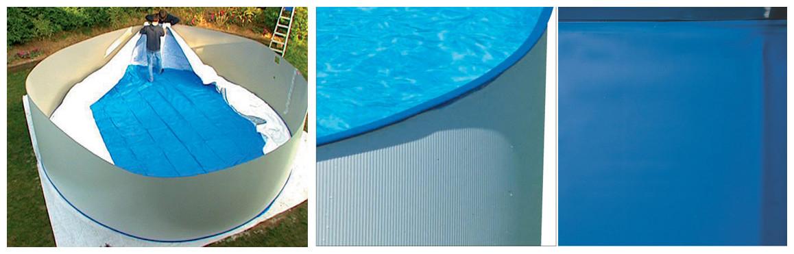 détail du liner de piscine hors sol en acier splasher par gré