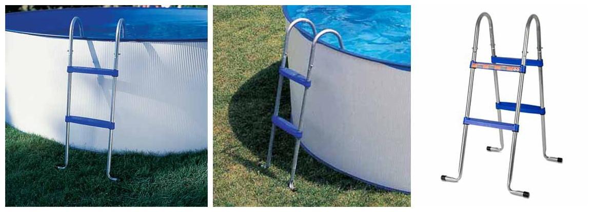 l'échelle d'accès de la piscine hors sol en acier splasher en situation